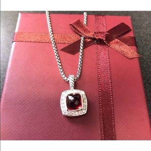 "DY 7x7mm Garnet &Diamond Necklace 17"""